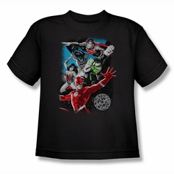 Justice League youth teen t-shirt Galactic Attack black