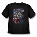 Justice League youth teen t-shirt Galactic Attack Color black