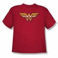 Justice League youth teen t-shirt Wonder Woman Symbol Golden red