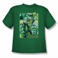 Justice League youth teen t-shirt Green Lantern Panels kelly green