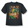 Justice League youth teen t-shirt Hero Boxes charcoal