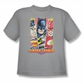 Justice League youth teen t-shirt Hero Triptych silver