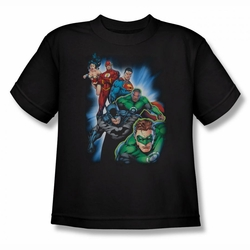 Justice League youth teen t-shirt Heroes Unite black