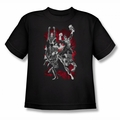 Justice League youth teen t-shirt JLA Explosion black