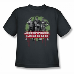 Justice League youth teen t-shirt JLA Trio charcoal