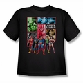 JLA youth teen t-shirt Justice League Panels black