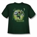JLA youth teen t-shirt Lantern Burst hunter green