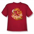 Justice League youth teen t-shirt Flash Lightning Fast red