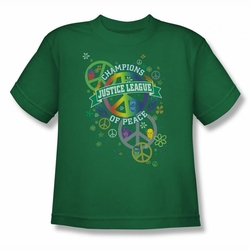 Justice League youth teen t-shirt Peace League kelly green