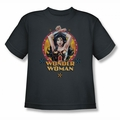 Justice League youth teen t-shirt Powerful Woman charcoal