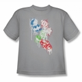 Justice League youth teen t-shirt Splatter Icons silver
