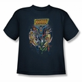 Justice League youth teen t-shirt Star Group navy