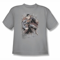 Justice League youth teen t-shirt Superman Bricks silver