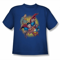 Justice League youth teen t-shirt Superman Collage royal
