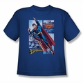 Justice League youth teen t-shirt Superman Panels royal