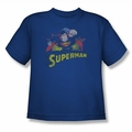 Justice League youth teen t-shirt Superman Rough Distress royal