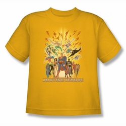 Justice League youth teen t-shirt United gold