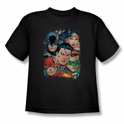 Justice League youth teen t-shirt Up Close And Personal black
