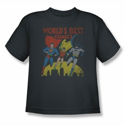 Justice League youth teen t-shirt World's Best charcoal