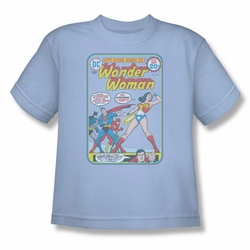 Justice League youth teen t-shirt Wonder Woman  #212 Cover light blue