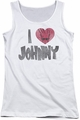Johnny Bravo juniors tank top I Heart Johnny white
