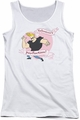 Johnny Bravo juniors tank top Valentine's Perfection white