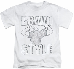 Johnny Bravo kids t-shirt Bravo Style white