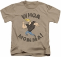 Johnny Bravo kids t-shirt Whoa Momma sand