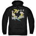Johnny Bravo pull-over hoodie 123 adult black