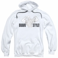 Johnny Bravo pull-over hoodie Bravo Style adult white