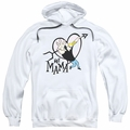 Johnny Bravo pull-over hoodie Hey Mama adult white