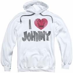 Johnny Bravo pull-over hoodie I Heart Johnny adult white
