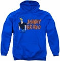 Johnny Bravo pull-over hoodie Johnny Logo adult royal blue