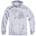 Johnny Bravo pull-over hoodie Line Art adult athletic heather