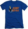 Johnny Bravo slim-fit t-shirt Johnny Logo mens royal