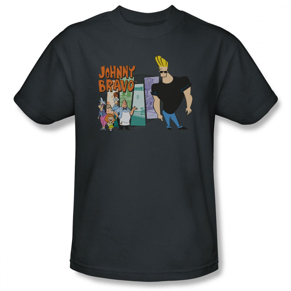 Johnny Bravo t-shirt Johnny & Friends mens charcoal