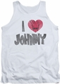 Johnny Bravo tank top I Heart Johnny mens white