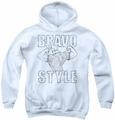 Johnny Bravo youth teen hoodie Bravo Style white