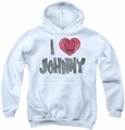 Johnny Bravo youth teen hoodie I Heart Johnny white
