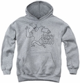 Johnny Bravo youth teen hoodie Jb Line Art athletic heather
