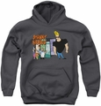 Johnny Bravo youth teen hoodie Johnny & Friends charcoal