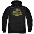 Jurassic Park pull-over hoodie Distressed Logo adult black