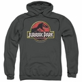 Jurassic Park pull-over hoodie Stone Logo adult charcoal