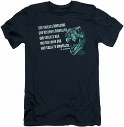 Jurassic Park slim-fit t-shirt God Creates Dinosaurs mens navy