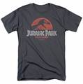 Jurassic Park t-shirt Faded Logo mens charcoal