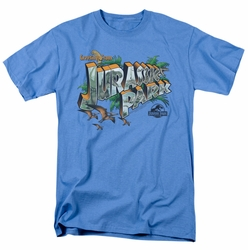 Jurassic Park t-shirt Greetings From JP mens carolina blue