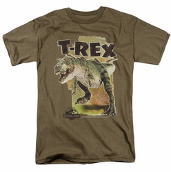 Jurassic Park t-shirt T Rex mens safari green