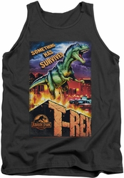 Jurassic Park tank top Rex In The City mens charcoal