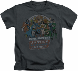 Justice League kids t-shirt Join The JLA charcoal
