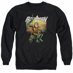 Justice League adult crewneck sweatshirt Aquaman Beach Sunset black